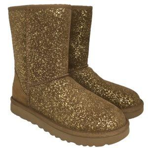 NEW UGG Classic Short II Foil Glam Boot Chestnut